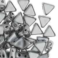 Czech Glass Kheops par Puca, 2-Hole Triangle Beads 6mm, 9 Grams, Matte Silver Aluminum