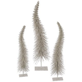 Set of 3 Champagne Glitter Artificial Table Top Christmas Trees - Unlit
