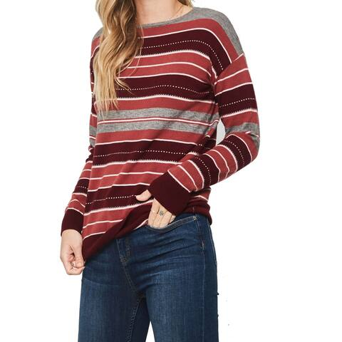 Promesa Women's Large Striped Ribbed Trim Pullover Sweater