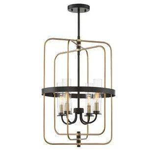 "Savoy House 3-8072-4 Kearney 4 Light 17"" Wide Chandelier with Clear Glass Shades"