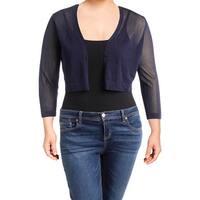 Lauren Ralph Lauren Womens Petites Cardigan Top Sheer Long Sleeves