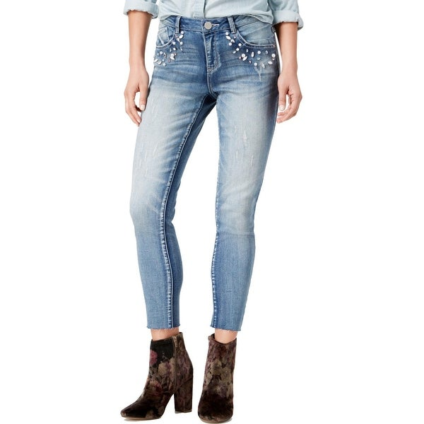 76e87b56be2 Rewind Womens Juniors The Drifter Cropped Jeans Embellished Distressed