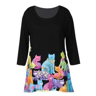 Women's Cat Club Tunic Top - 3/4 Sleeve Hi-Lo Hem Blouse