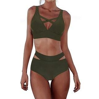 FeelinGirl Women's Sexy Tie Knot Front High Waist Bandage 2PCS Bikini Set Bea... - No Size