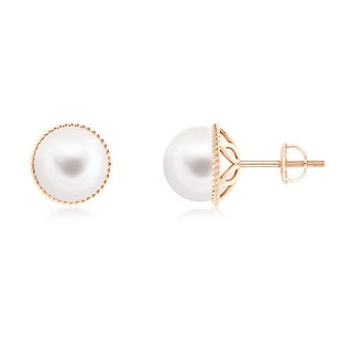 Angara 8mm Twisted Rope Solitaire Freshwater Cultured Pearl Stud Earrings