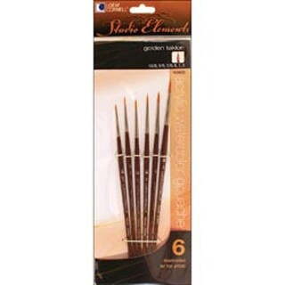6/Pkg - Studio Elements Golden Taklon Brush Set
