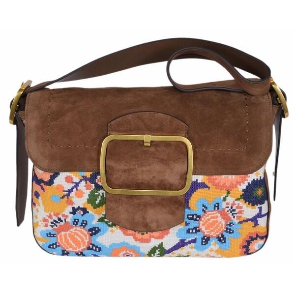 "Tory Burch Suede Needlepoint Sawyer Martora Shoulder Bag Purse - 12.15"" x 9.56"" x 2.79"""