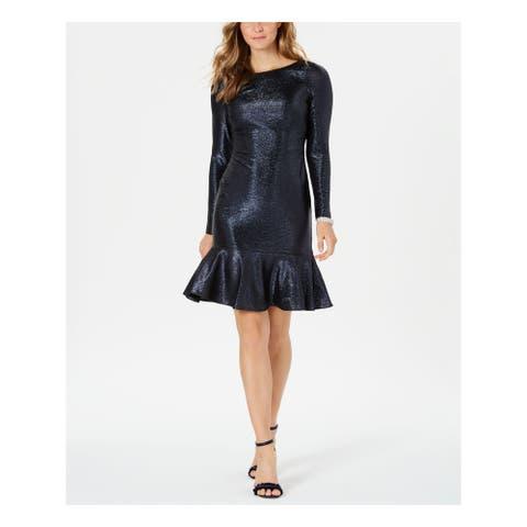 NIGHTWAY Navy Long Sleeve Knee Length Dress 10