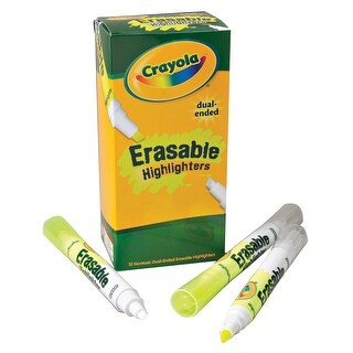 Crayola Dual Ended Erasable Highlighter, Yellow, Pack of 12
