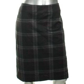 Nine West Womens Nostalgia Straight Skirt Plaid Slim