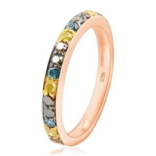Beautiful 0.46 Carat Round Brilliant Cut Multi Color Diamond Wedding Band