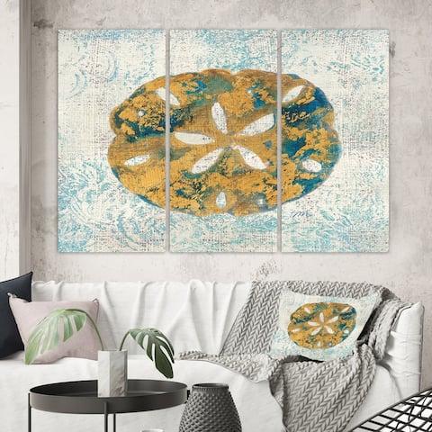 Designart 'Coastal Pastel seashells II' Vintage Nautical Canvas Artwork