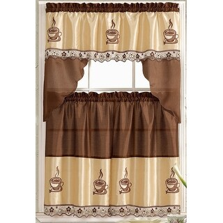 Coffee Embroidered Kitchen Curtain Tiers & Swag Set Brown-Beige - 60x36 & 30x36