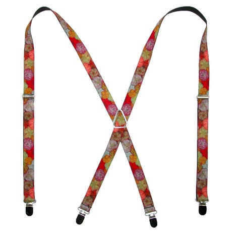 Buckle Down Women's Elastic Vivid Flower Collage Suspenders - one size