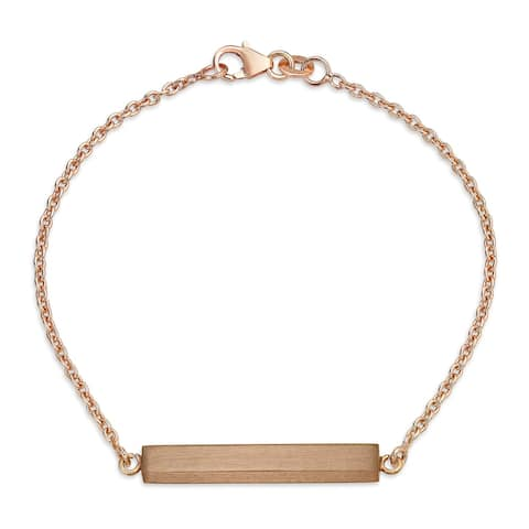 Minimalist Name Plate ID Bar Bracelet For Women For Teen Engravable Rose Gold Plated 925 Sterling Silver - 7.5