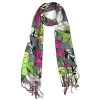 Women's Fashion Floral Soft Wraps Scarves - F10 Grey/Multi - Large
