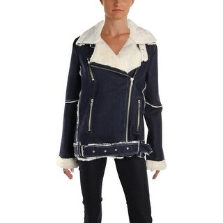 JOA Womens Juniors Denim Jacket Winter Faux Shearling - M