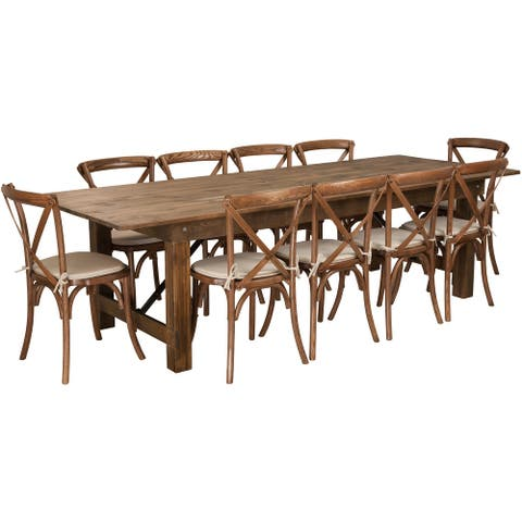 """9' x 40"""" Rustic Folding Farm Table Set with 10 Cross Back Chairs and Cushions"""