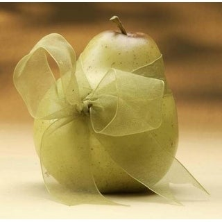 "4"" Decorative Pear Fruit With Sheer Green Ribbon Figure #29143"