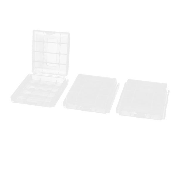 Unique Bargains 3PCS Clear Plastic 4 x AA/AAA Battery Box Case Holder Storage