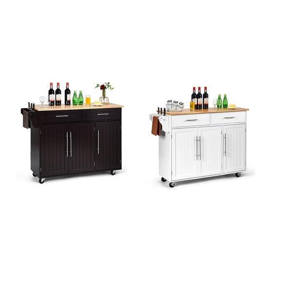 Costway Kitchen Island Trolley Cart Wood Top Rolling Storage Cabinet w/Knife Block WhiteBrown