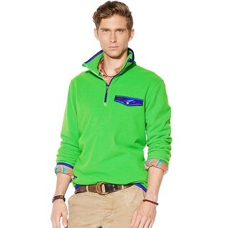 Polo Ralph Lauren Fleece Sweatshirt Large L Bright Green and Blue Half Zip