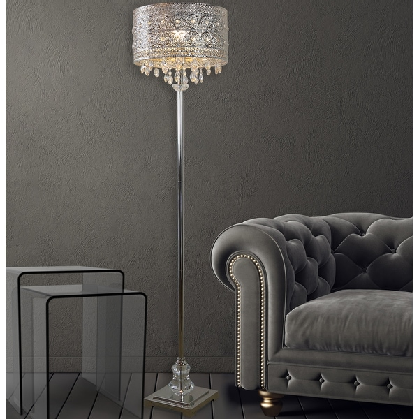 Silver Orchid Teje 60.4-inch Polished Nickel & Crystal 1-light Floor Lamp. Opens flyout.