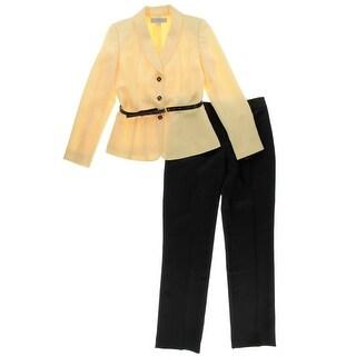 Tahari ASL Womens Stella Herringbone 2PC Pant Suit