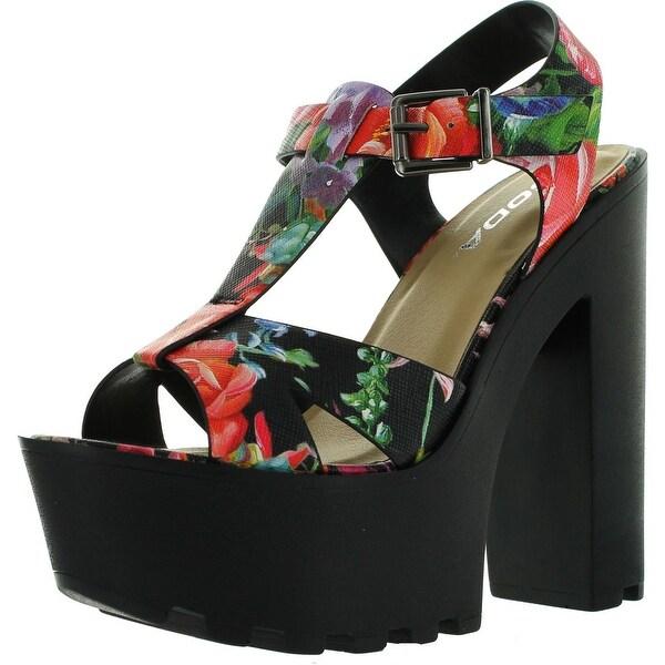 Soda Womens Lab Faux Leather T- Strap Lug Sole Platform High Heel Sandals
