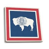 Wyoming State Flag - Letterpress - LP Artwork (Set of 4 Ceramic Coasters)