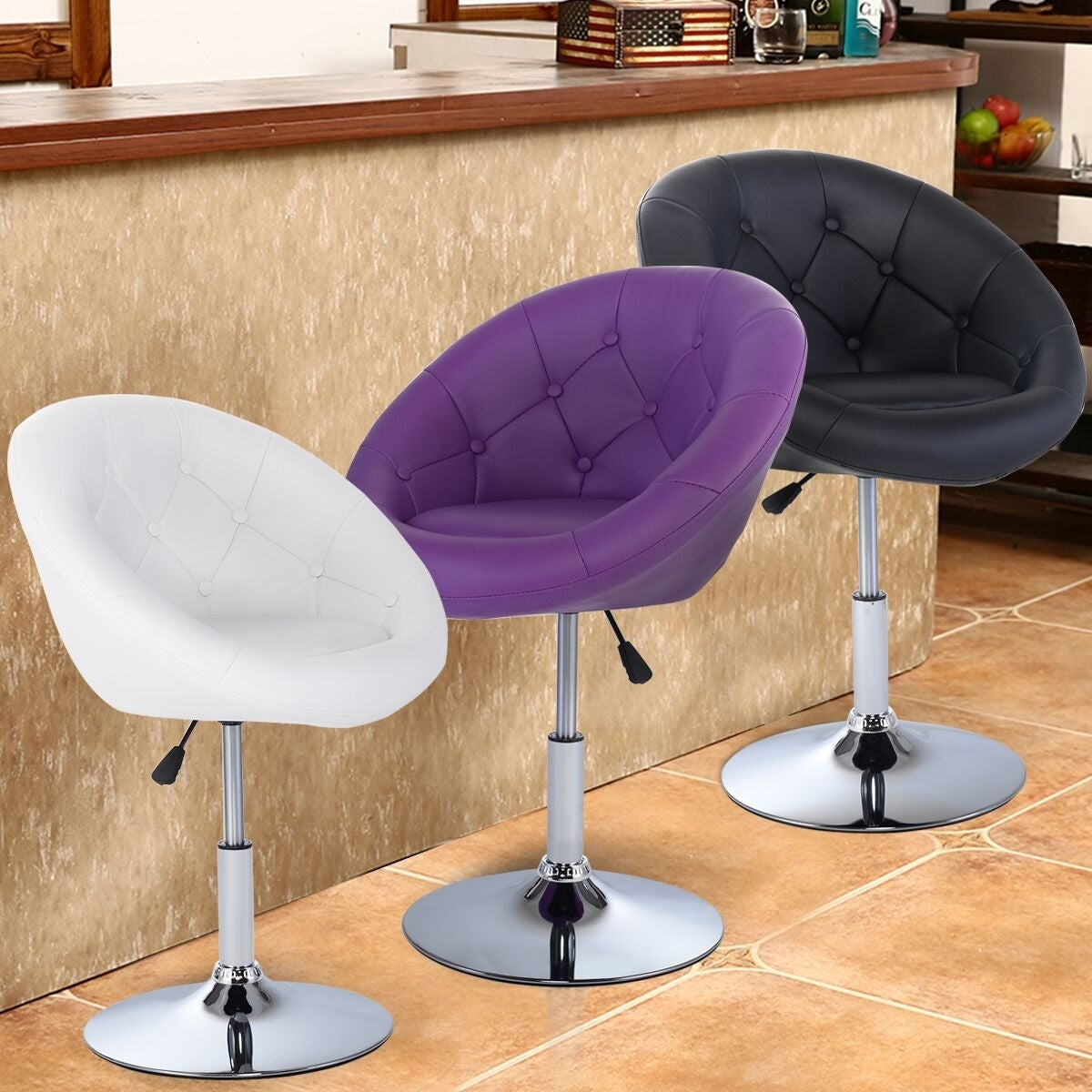 Costway 1PC PU Leather Adjustable Modern Swivel Round Accent Chair 3 color - Single (White)