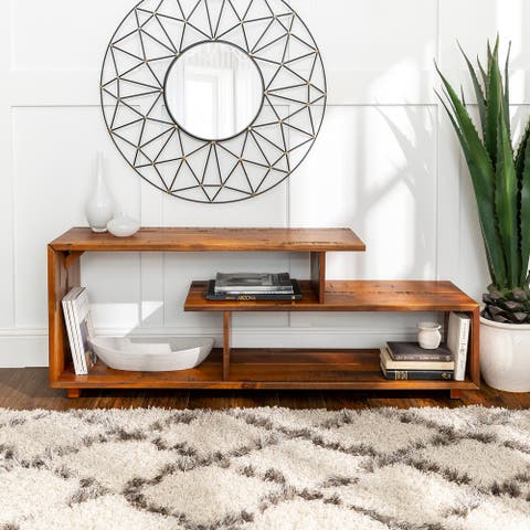 Asymmetrical 60-inch Solid Wood TV Stand Console