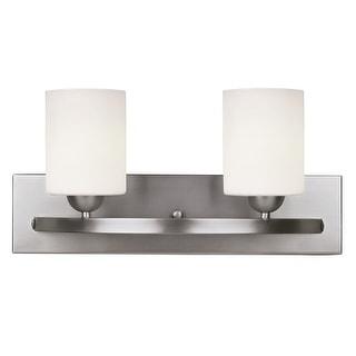 Canarm Luztar Hampton 2 Bulb Vanity Light with White Opal Glass - Brushed Pewter Finish
