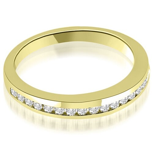0.28 cttw. 14K Yellow Gold Classic Channel Round Cut Diamond Wedding Band