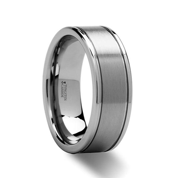 BRIDGEPORT Flat Satin Finish Tungsten Carbide Ring