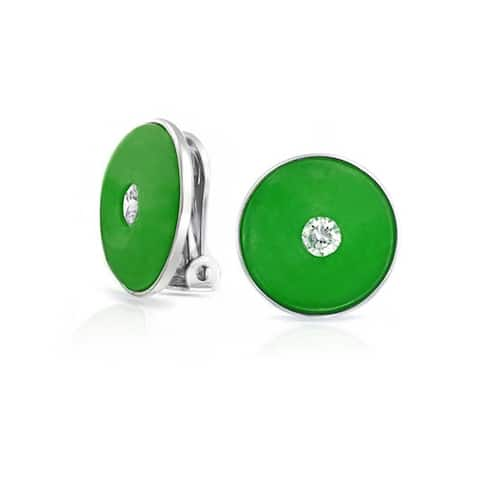 Round Disc CZ Accent Green Dyed Jade Clip On Earrings For Women Sterling Silver Non Pierced