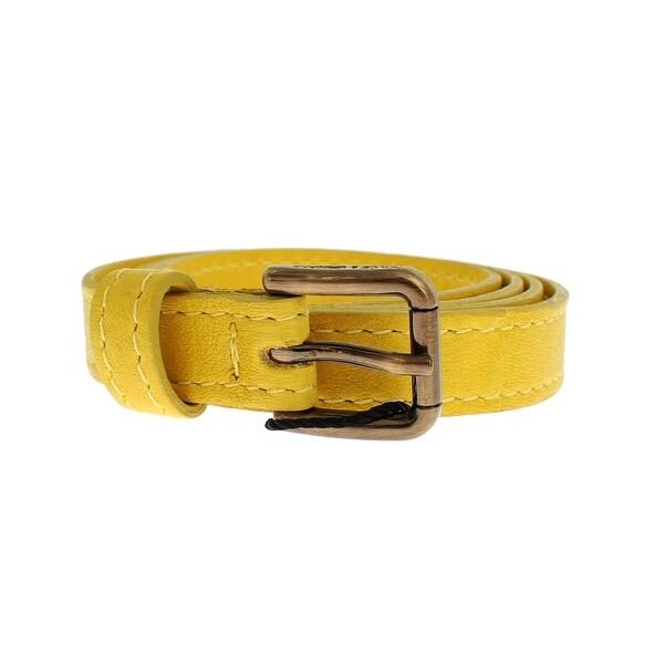Dolce & Gabbana Dolce & Gabbana Yellow Leather Gold Buckle Logo Belt - 75-cm-30-inches