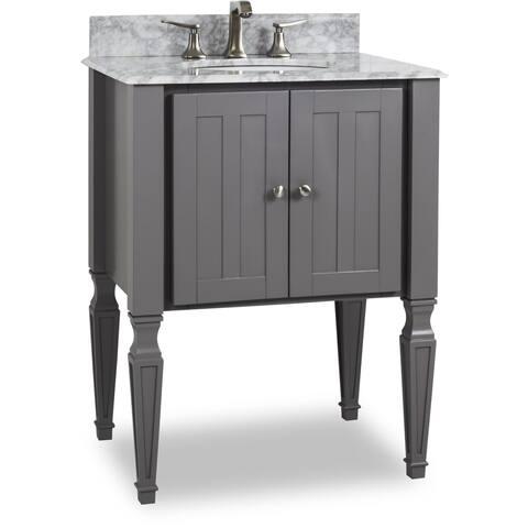 Elements Van089 T Jensen 28 Vanity Set With Wood Cabinet Marble Top And