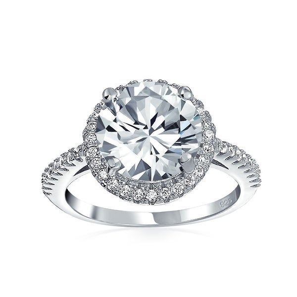 3CT Round Brilliant Solitaire AAA CZ Cubic Zirconia Halo Statement Engagement Ring Thin Pave Band 925 Sterling Silver. Opens flyout.