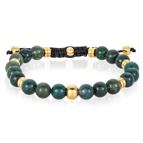 Agate Stone and Stainless Steel Beaded Adjustable Bracelet (8mm)