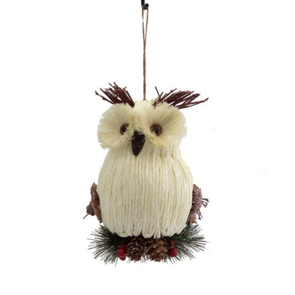 """8"""" Enchanted Forest Cream Woven Owl Christmas Ornament with Raised Eyebrows"""