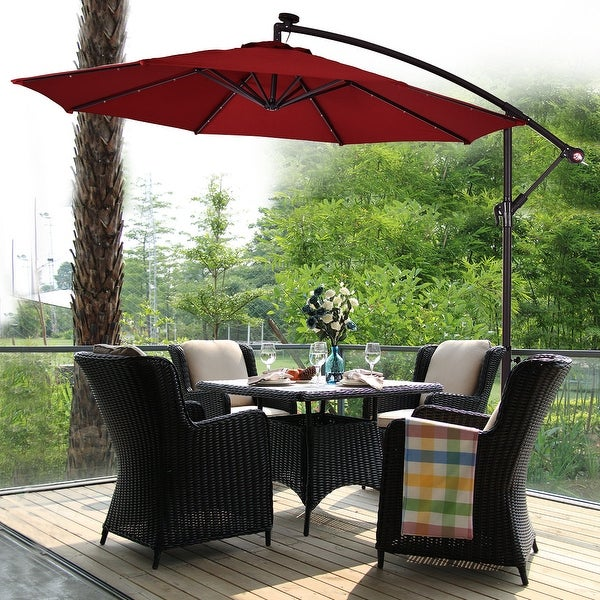 Costway 10' Patio Umbrella with Solar Power LED Lights and Base