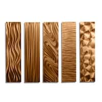 Statements2000 Copper Metal Wall Art Accent Panels by Jon Allen (Set of 5) - 5 Easy Pieces Copper