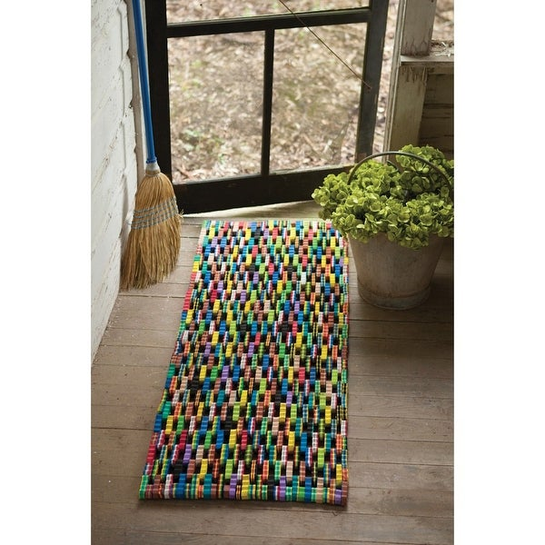 Reclaimed Flip-Flop Runner Large Rectangle Mat - Easy To Clean Durable Sturdy