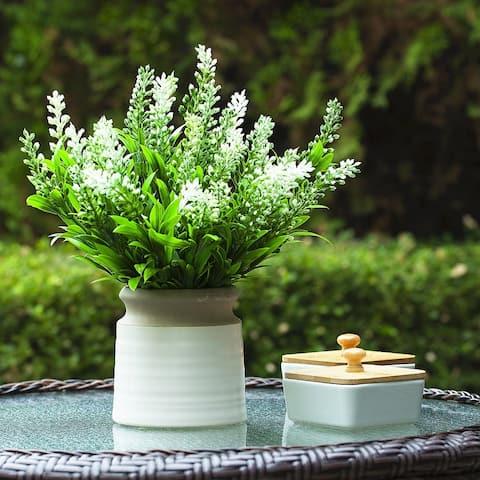 Enova Home Artificial Lavender Floral Arrangement in Pot For Home Office Decoration