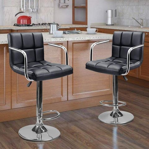 Set of 2 Adjustable Faux Leather Height-adjustable Swivel Barstool