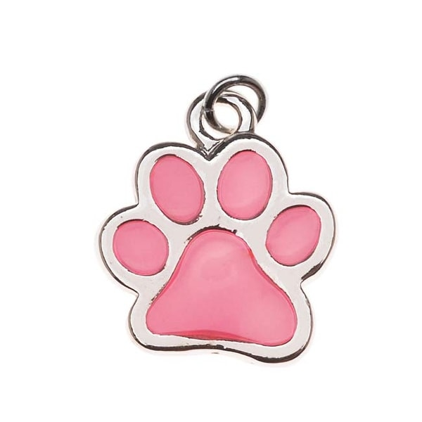Silver Plated Translucent Hot Pink Enamel Paw Print Charm 16mm (1)