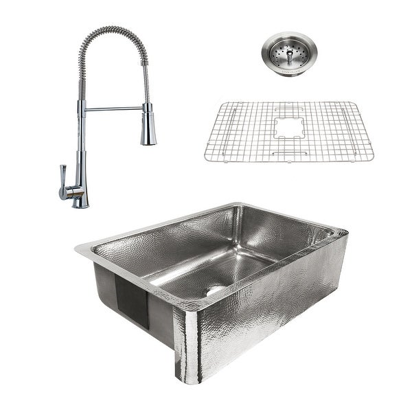 Percy Apron-Front Polished Stainless Steel 32 in. Single Bowl Kitchen Sink with Pfister Zuri Faucet All-in-One Kit. Opens flyout.
