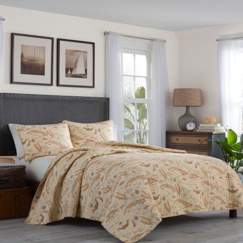 Tommy Bahama Bahama Map Cotton Reversible Brown Quilt Set