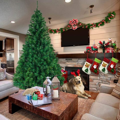 5-8ft Artificial Christmas Tree with Stand for Indoor and Outdoor Holiday Decoration